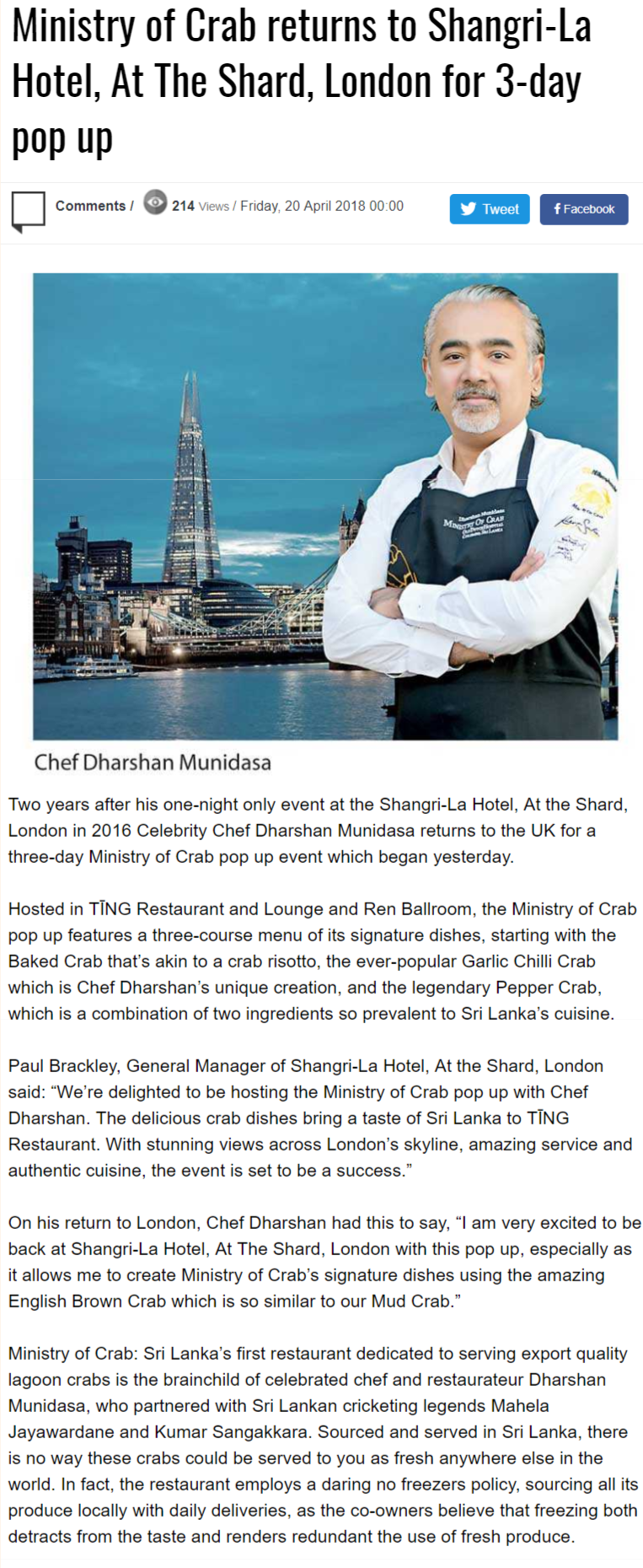 Ministry Of Crab Returns To Shangri-La Hotel, At The Shard, London For 3-Day Pop Up