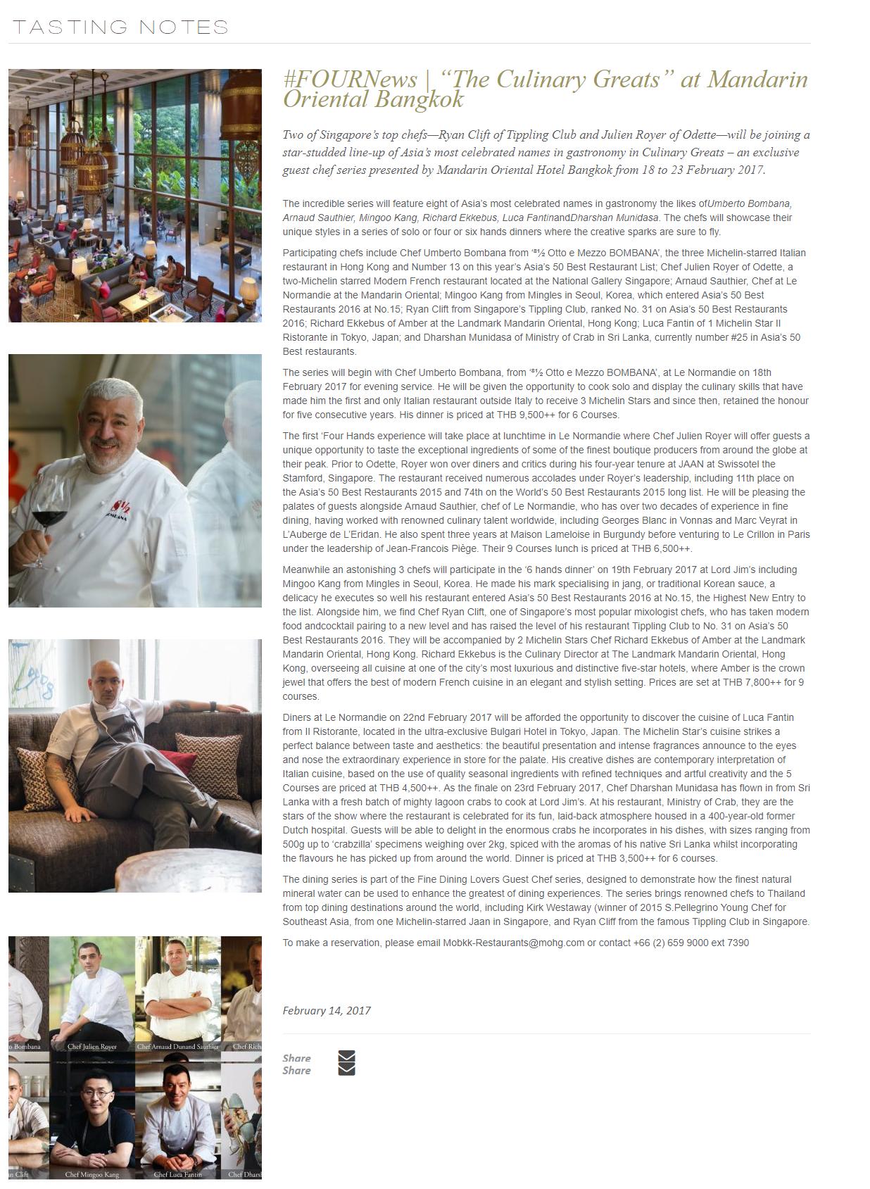"#FOURNews   ""The Culinary Greats"" at Mandarin Oriental Bangkok"
