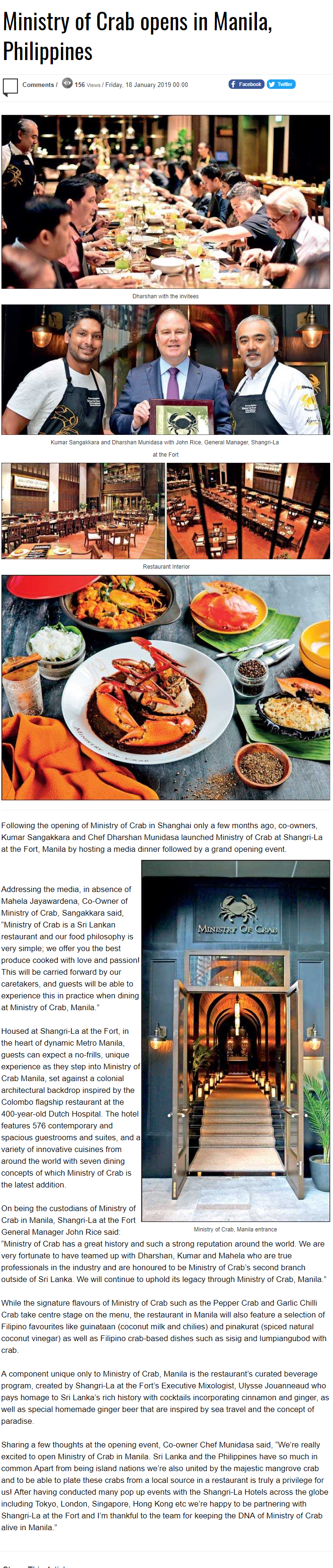 Ministry Of Crab Opens In Manila, Philippines