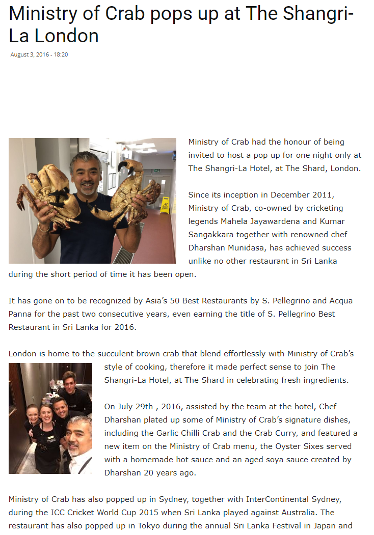 Ministry of Crab pops up at The Shangri-La London