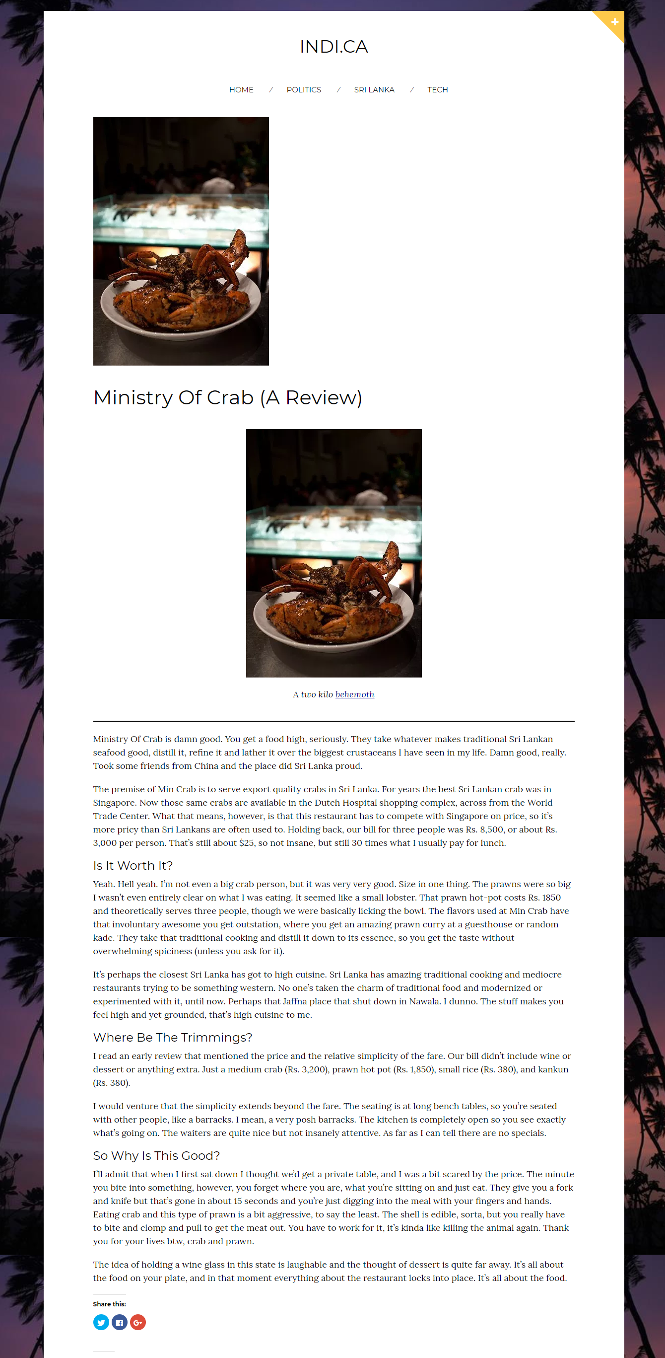 Ministry of Crab Review