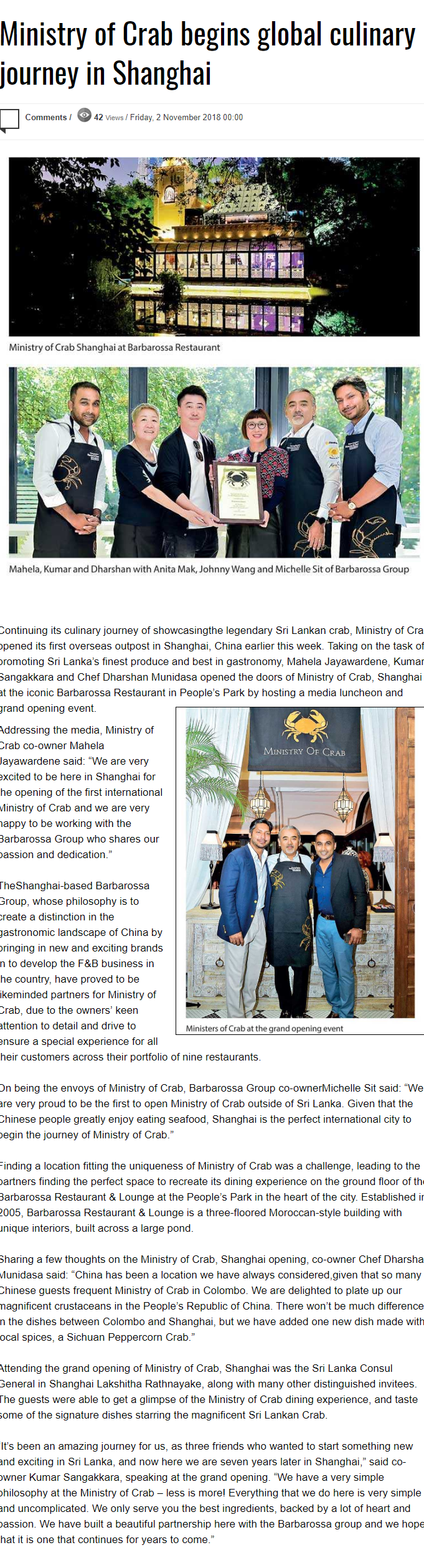 Ministry Of Crab Begins Global Culinary Journey In Shanghai