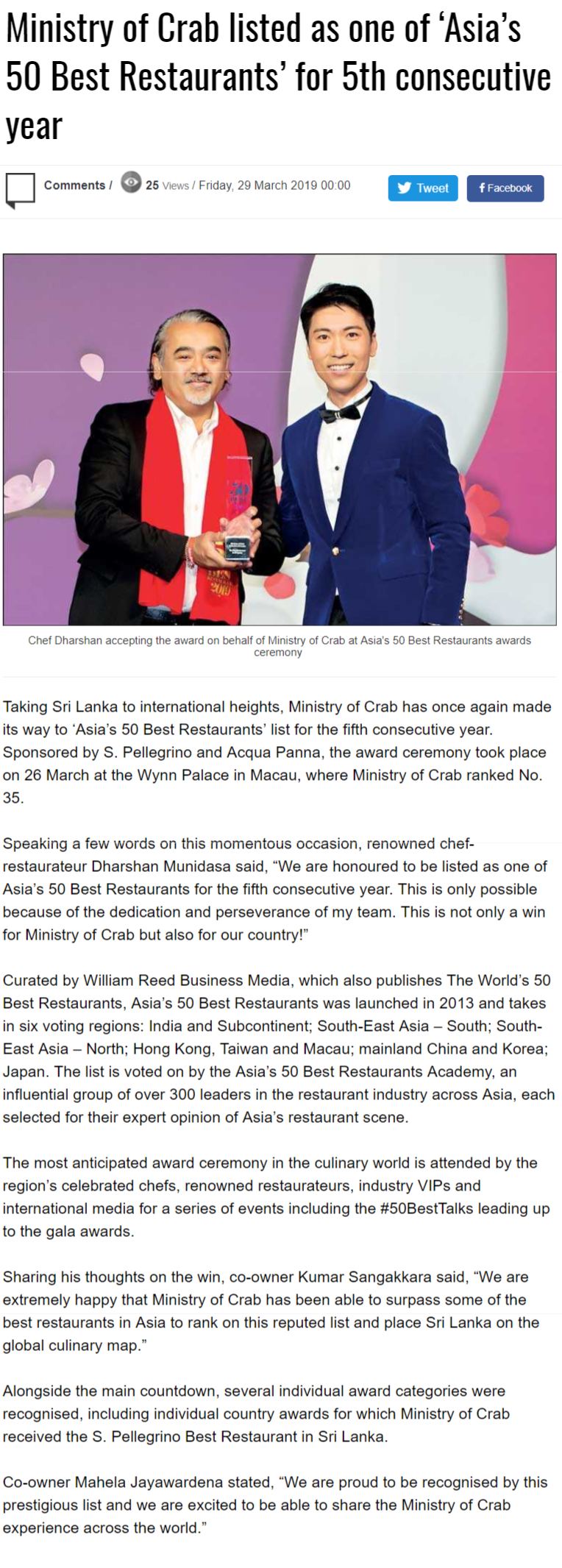 Ministry Of Crab Listed As One Of 'Asia's 50 Best Restaurants' For 5th Consecutive Year